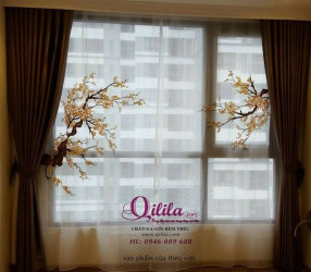 Rèm thêu nghệ thuật - cành đào - Qilila